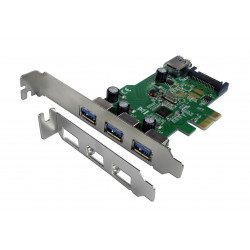 Carte PCI EXPRESS 3+1 Ports USB3 + 1 port RENESAS Connectland ref   0712015